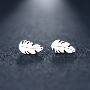 Feather leaf studs in silver , tiny earrings boho